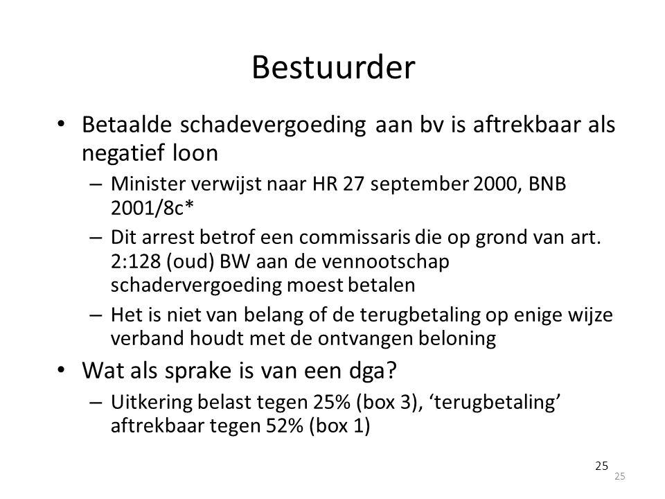 Bestuurder Betaalde schadevergoeding aan bv is aftrekbaar als negatief loon – Minister verwijst naar HR 27 september 2000, BNB 2001/8c* – Dit arrest b