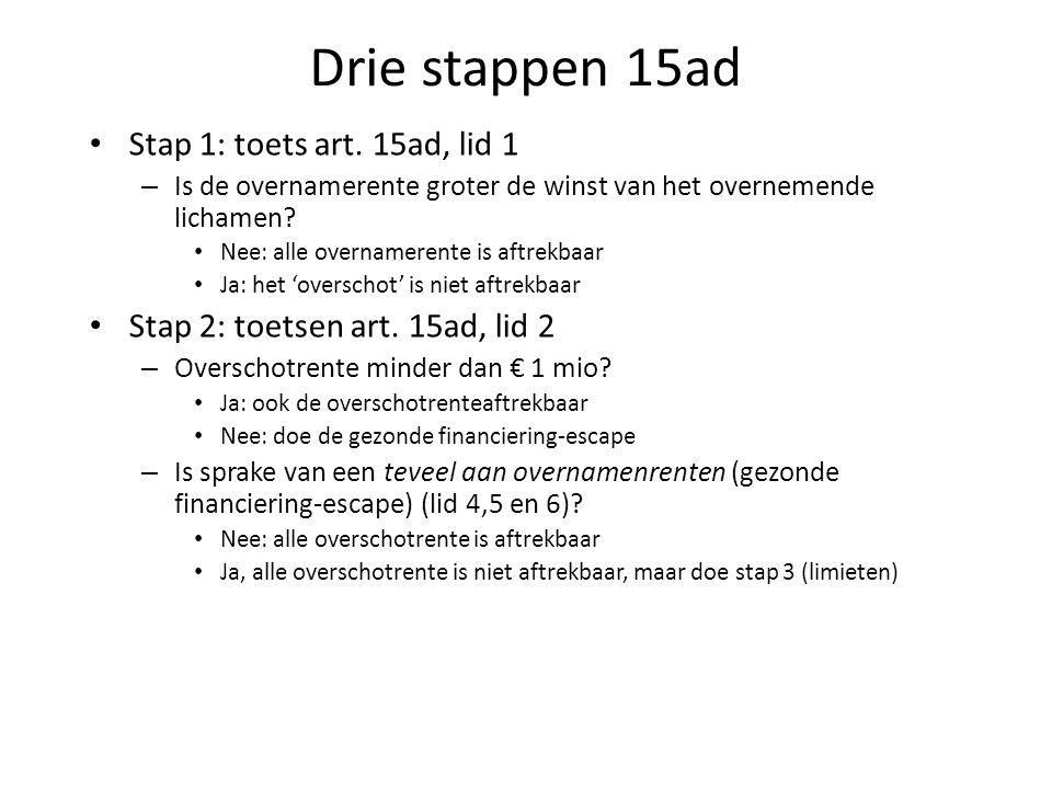 Drie stappen 15ad Stap 1: toets art. 15ad, lid 1 – Is de overnamerente groter de winst van het overnemende lichamen? Nee: alle overnamerente is aftrek