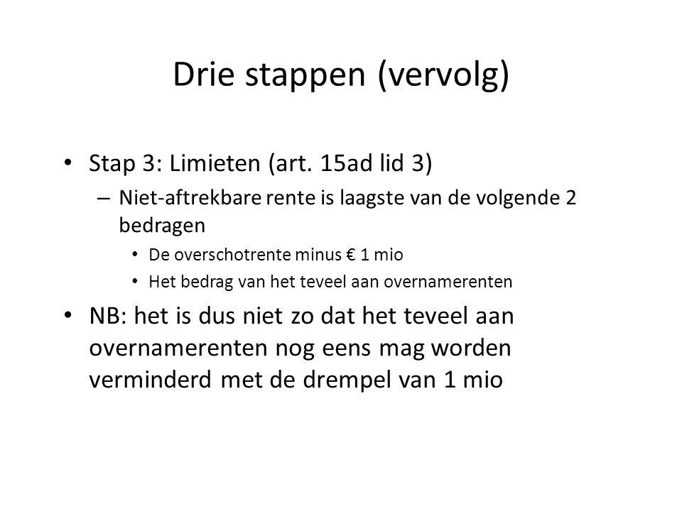 Drie stappen (vervolg) Stap 3: Limieten (art. 15ad lid 3) – Niet-aftrekbare rente is laagste van de volgende 2 bedragen De overschotrente minus € 1 mi