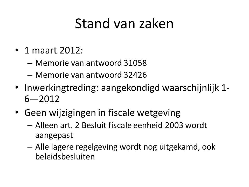 Stand van zaken 1 maart 2012: – Memorie van antwoord 31058 – Memorie van antwoord 32426 Inwerkingtreding: aangekondigd waarschijnlijk 1- 6—2012 Geen w