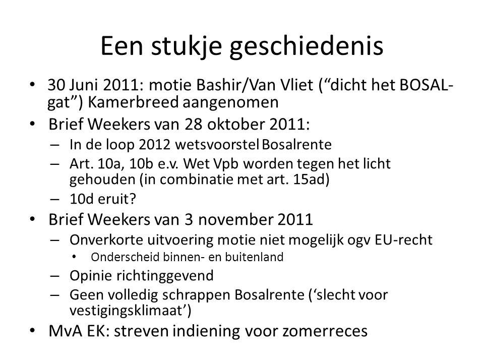 """Een stukje geschiedenis 30 Juni 2011: motie Bashir/Van Vliet (""""dicht het BOSAL- gat"""") Kamerbreed aangenomen Brief Weekers van 28 oktober 2011: – In de"""