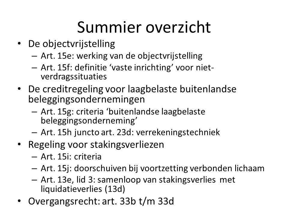 Summier overzicht De objectvrijstelling – Art. 15e: werking van de objectvrijstelling – Art. 15f: definitie 'vaste inrichting' voor niet- verdragssitu