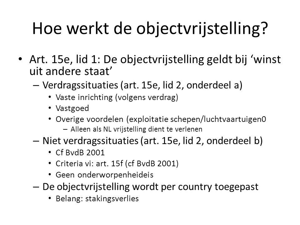 Hoe werkt de objectvrijstelling? Art. 15e, lid 1: De objectvrijstelling geldt bij 'winst uit andere staat' – Verdragssituaties (art. 15e, lid 2, onder
