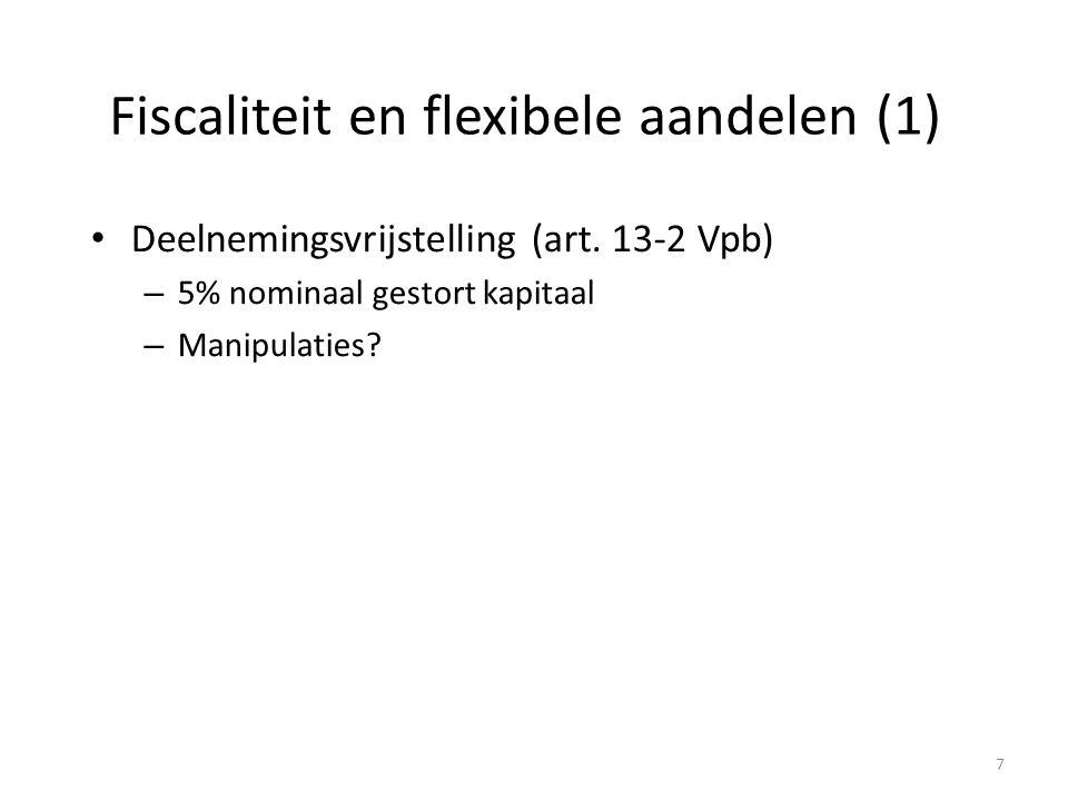Fiscaliteit en flexibele aandelen (1) Deelnemingsvrijstelling (art. 13-2 Vpb) – 5% nominaal gestort kapitaal – Manipulaties? 7
