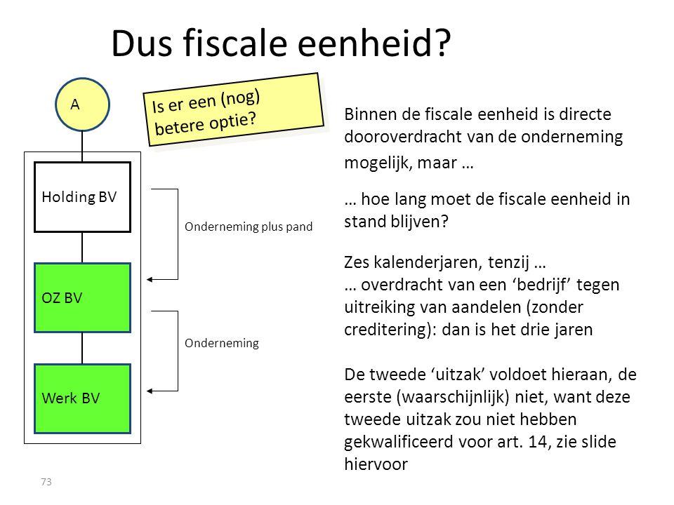 73 Onderneming plus pand Dus fiscale eenheid? A Holding BV Werk BV OZ BV Binnen de fiscale eenheid is directe dooroverdracht van de onderneming mogeli
