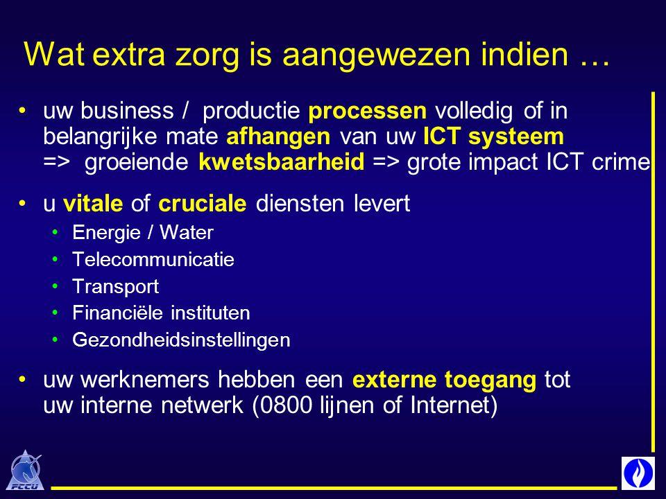 Wat extra zorg is aangewezen indien … uw business / productie processen volledig of in belangrijke mate afhangen van uw ICT systeem => groeiende kwets