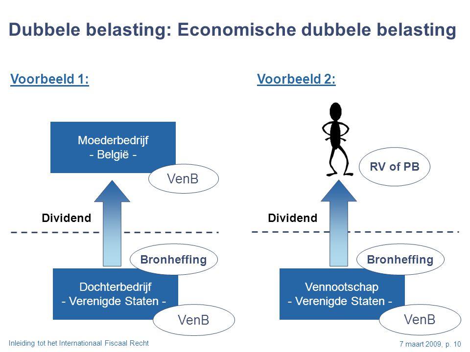 Inleiding tot het Internationaal Fiscaal Recht 7 maart 2009, p. 10 Moederbedrijf - België - VenB Dubbele belasting: Economische dubbele belasting Doch