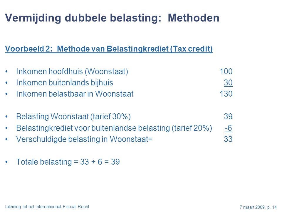 Inleiding tot het Internationaal Fiscaal Recht 7 maart 2009, p. 14 Voorbeeld 2: Methode van Belastingkrediet (Tax credit) Inkomen hoofdhuis (Woonstaat