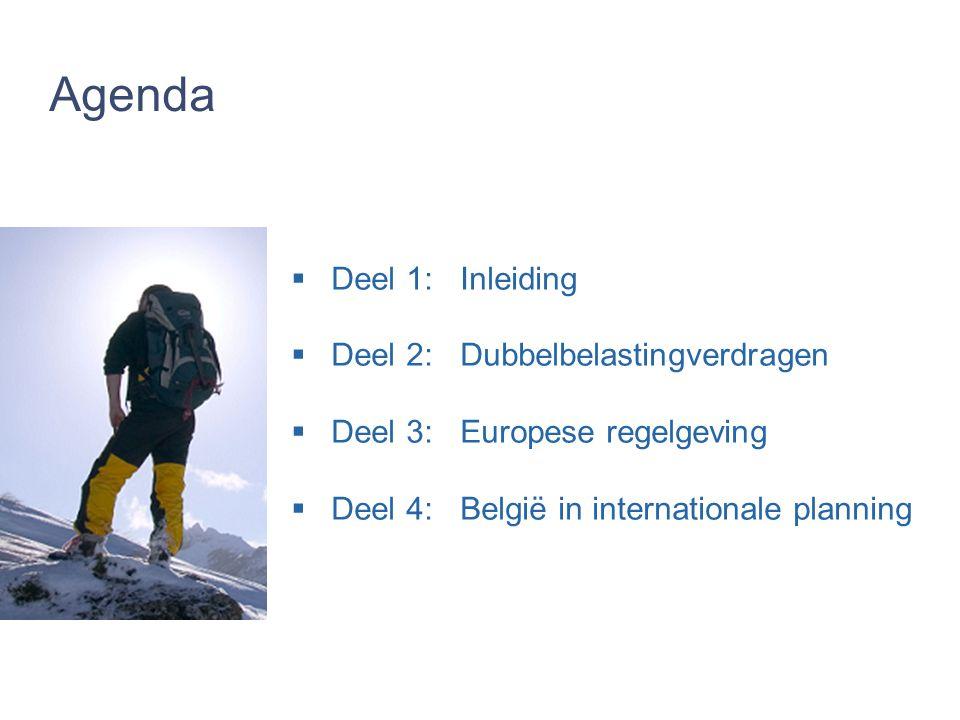 Agenda  Deel 1:Inleiding  Deel 2: Dubbelbelastingverdragen  Deel 3:Europese regelgeving  Deel 4:België in internationale planning