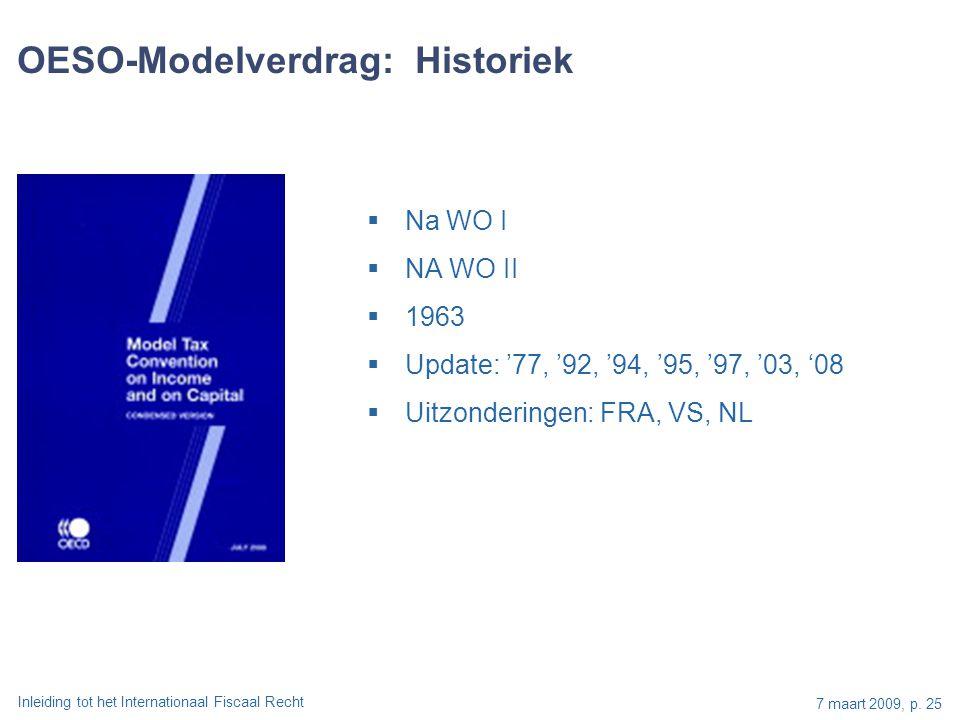 Inleiding tot het Internationaal Fiscaal Recht 7 maart 2009, p. 25 OESO-Modelverdrag: Historiek  Na WO I  NA WO II  1963  Update: '77, '92, '94, '