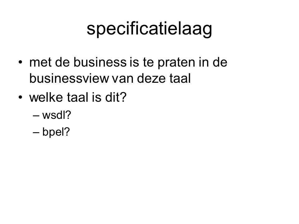 specificatielaag met de business is te praten in de businessview van deze taal welke taal is dit? –wsdl? –bpel?