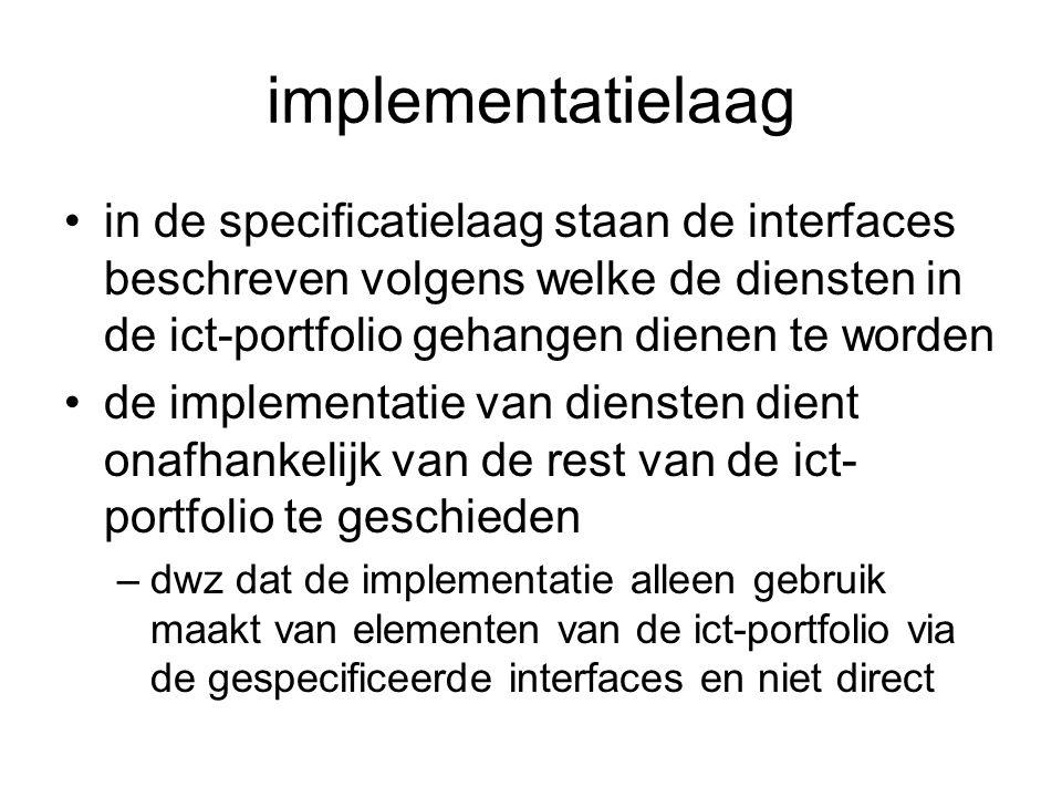 implementatielaag in de specificatielaag staan de interfaces beschreven volgens welke de diensten in de ict-portfolio gehangen dienen te worden de imp