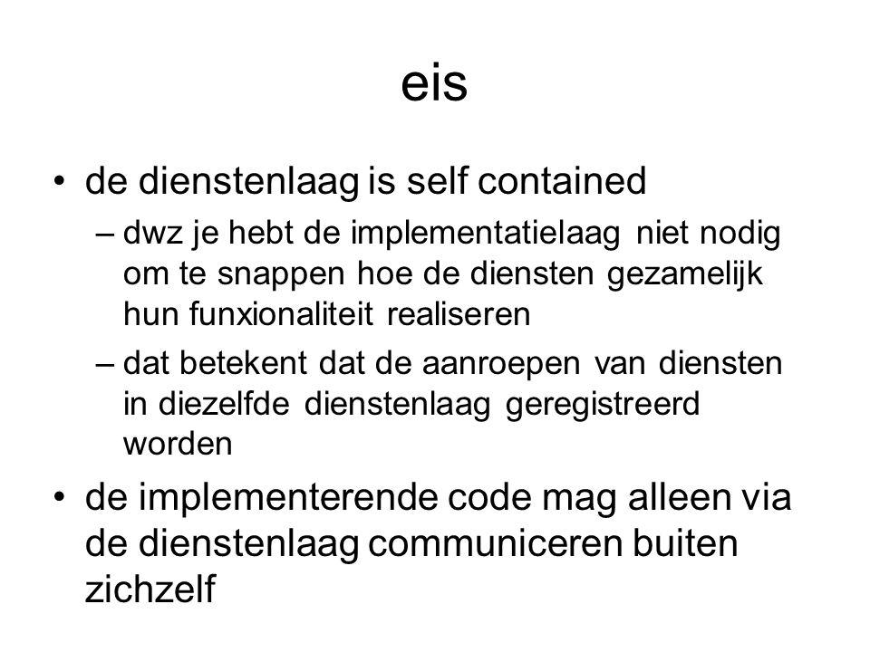 eis de dienstenlaag is self contained –dwz je hebt de implementatielaag niet nodig om te snappen hoe de diensten gezamelijk hun funxionaliteit realise