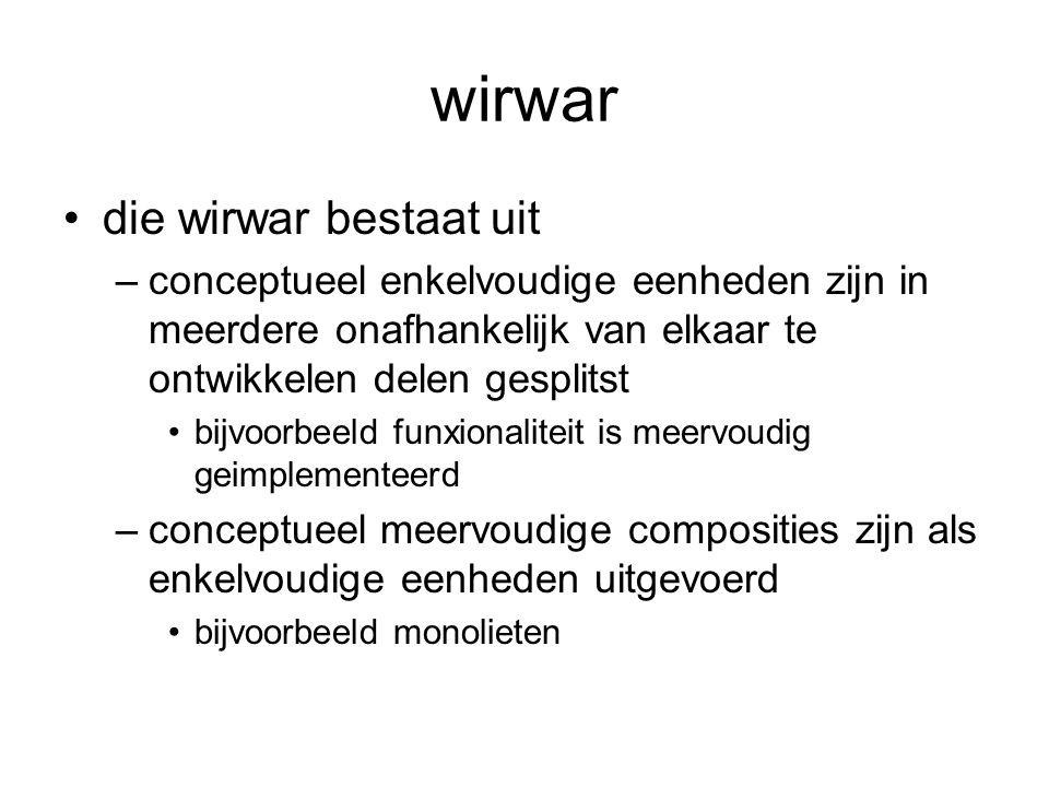 wirwar die wirwar bestaat uit –conceptueel enkelvoudige eenheden zijn in meerdere onafhankelijk van elkaar te ontwikkelen delen gesplitst bijvoorbeeld