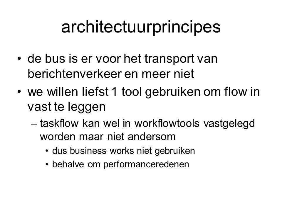 architectuurprincipes de bus is er voor het transport van berichtenverkeer en meer niet we willen liefst 1 tool gebruiken om flow in vast te leggen –t