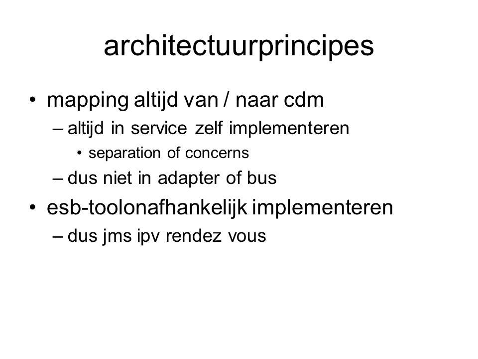architectuurprincipes mapping altijd van / naar cdm –altijd in service zelf implementeren separation of concerns –dus niet in adapter of bus esb-toolo