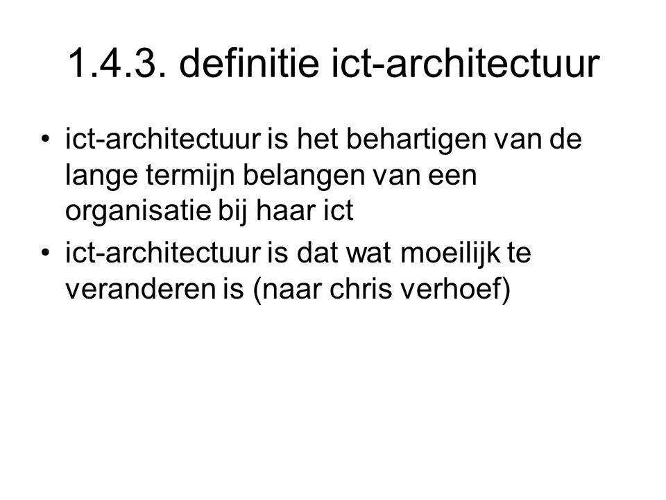1.4.3. definitie ict-architectuur ict-architectuur is het behartigen van de lange termijn belangen van een organisatie bij haar ict ict-architectuur i