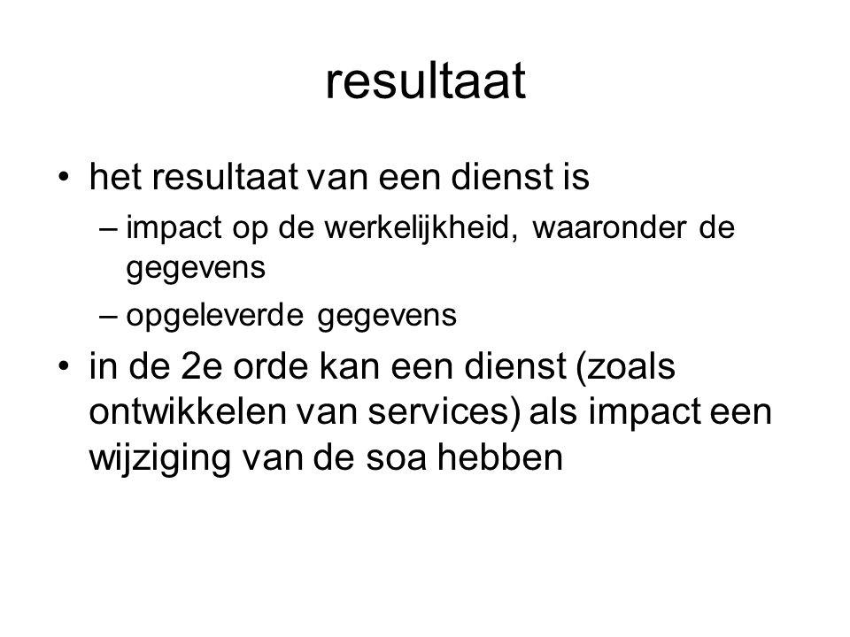 resultaat het resultaat van een dienst is –impact op de werkelijkheid, waaronder de gegevens –opgeleverde gegevens in de 2e orde kan een dienst (zoals