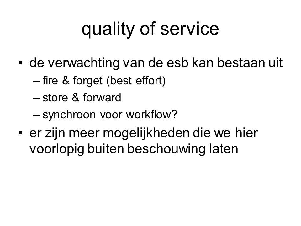 quality of service de verwachting van de esb kan bestaan uit –fire & forget (best effort) –store & forward –synchroon voor workflow? er zijn meer moge