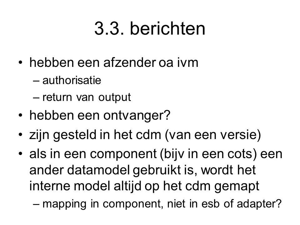 3.3. berichten hebben een afzender oa ivm –authorisatie –return van output hebben een ontvanger? zijn gesteld in het cdm (van een versie) als in een c