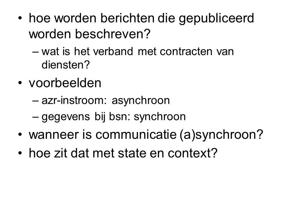 hoe worden berichten die gepubliceerd worden beschreven? –wat is het verband met contracten van diensten? voorbeelden –azr-instroom: asynchroon –gegev