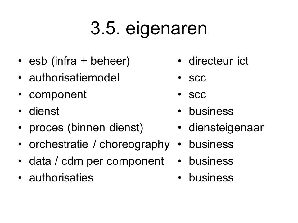 3.5. eigenaren esb (infra + beheer) authorisatiemodel component dienst proces (binnen dienst) orchestratie / choreography data / cdm per component aut