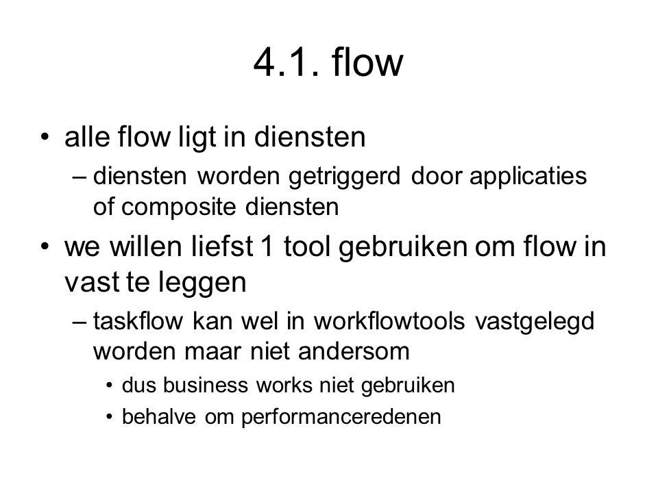 4.1. flow alle flow ligt in diensten –diensten worden getriggerd door applicaties of composite diensten we willen liefst 1 tool gebruiken om flow in v