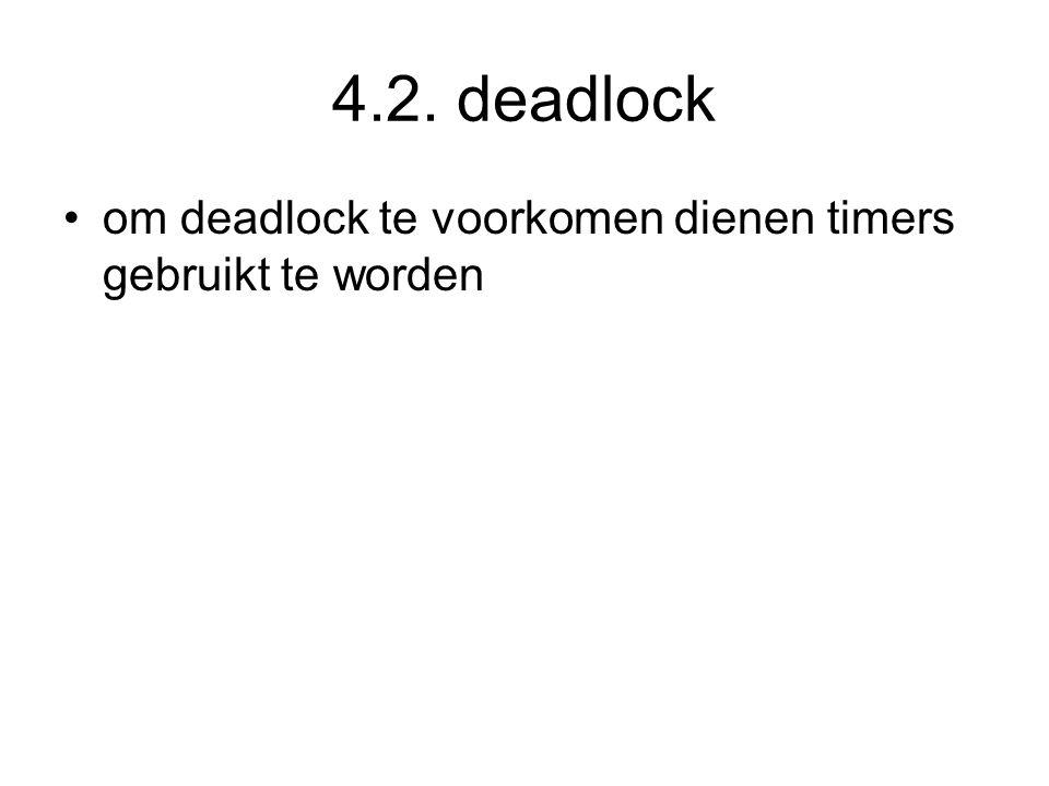 4.2. deadlock om deadlock te voorkomen dienen timers gebruikt te worden
