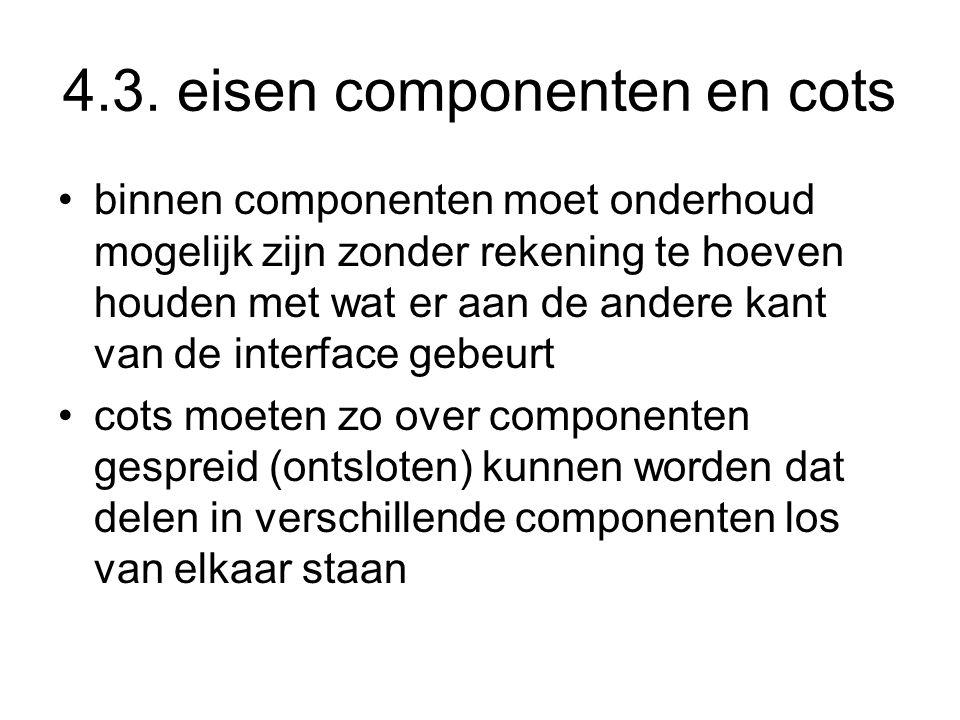4.3. eisen componenten en cots binnen componenten moet onderhoud mogelijk zijn zonder rekening te hoeven houden met wat er aan de andere kant van de i