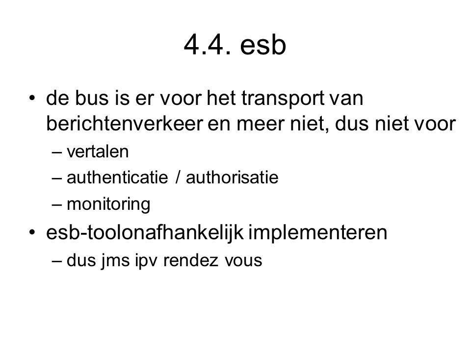 4.4. esb de bus is er voor het transport van berichtenverkeer en meer niet, dus niet voor –vertalen –authenticatie / authorisatie –monitoring esb-tool