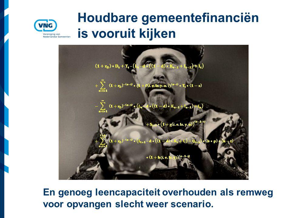 Vereniging van Nederlandse Gemeenten Houdbare gemeentefinanciën is vooruit kijken En genoeg leencapaciteit overhouden als remweg voor opvangen slecht weer scenario.