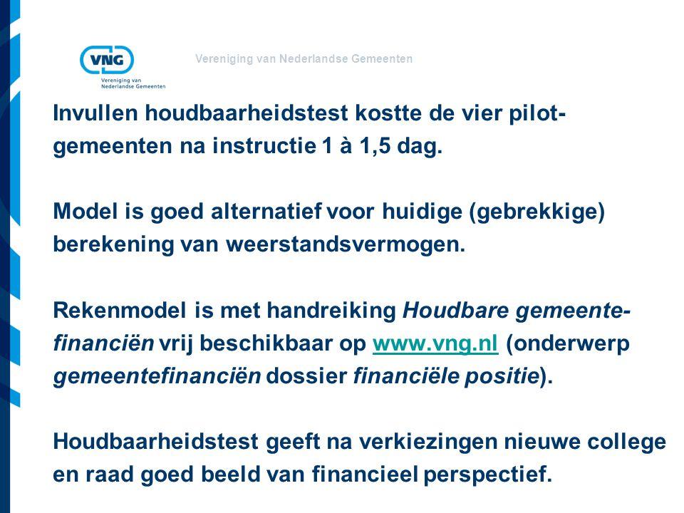 Vereniging van Nederlandse Gemeenten Invullen houdbaarheidstest kostte de vier pilot- gemeenten na instructie 1 à 1,5 dag.
