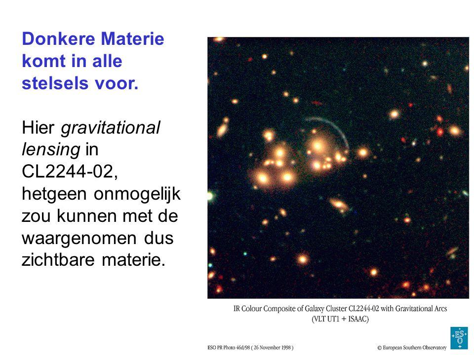 Donkere Materie komt in alle stelsels voor. Hier gravitational lensing in CL2244-02, hetgeen onmogelijk zou kunnen met de waargenomen dus zichtbare ma