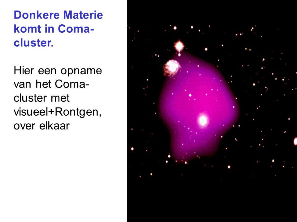 Donkere Materie komt in Coma- cluster. Hier een opname van het Coma- cluster met visueel+Rontgen, over elkaar
