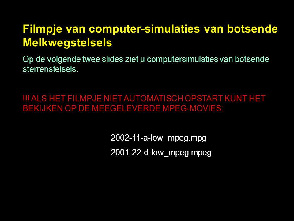 Filmpje van computer-simulaties van botsende Melkwegstelsels Op de volgende twee slides ziet u computersimulaties van botsende sterrenstelsels. !!! AL