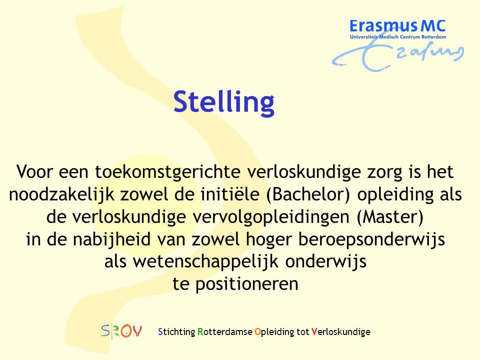 Stichting Rotterdamse Opleiding tot Verloskundige Voor een toekomstgerichte verloskundige zorg is het noodzakelijk zowel de initiële (Bachelor) opleid