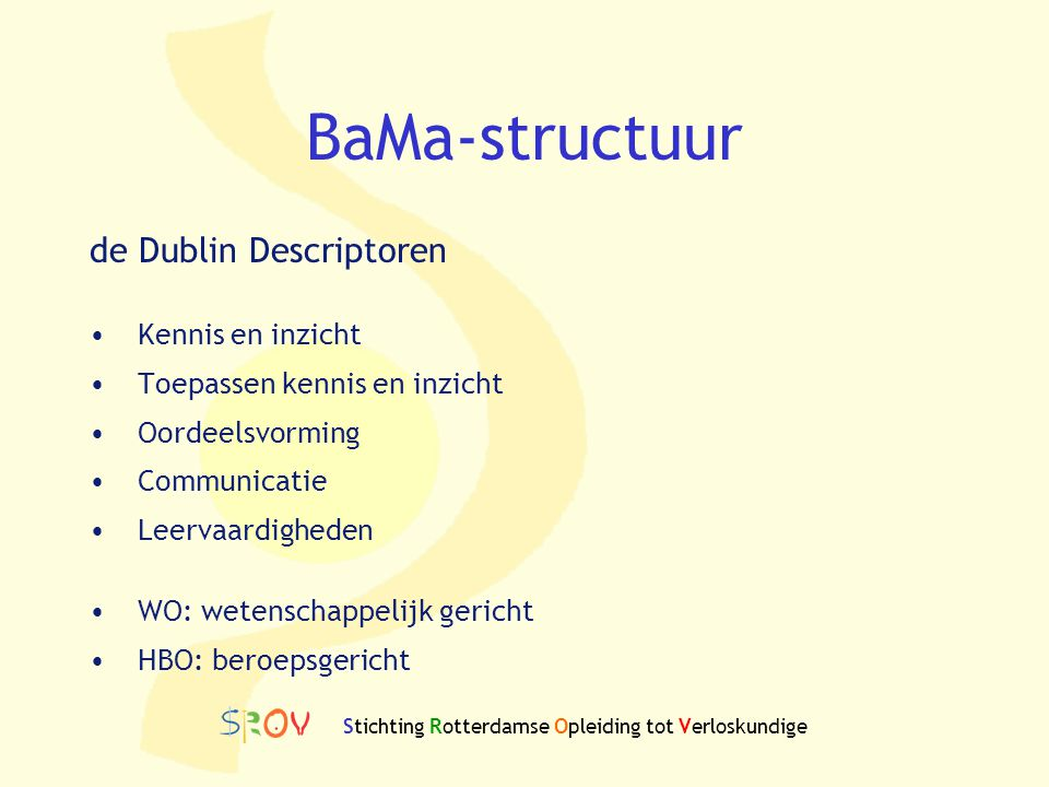 BaMa structuur WOHBO Dr / PhD (Dier)Geneeskunde 180 ECTS MA/MSc 120 ECTSMaster 120 ECTS MA/MSc 60/90 ECTSMaster 60/90 ECTS BA/BSc 180 ECTS Bachelor 240 ECTS Stichting Rotterdamse Opleiding tot Verloskundige