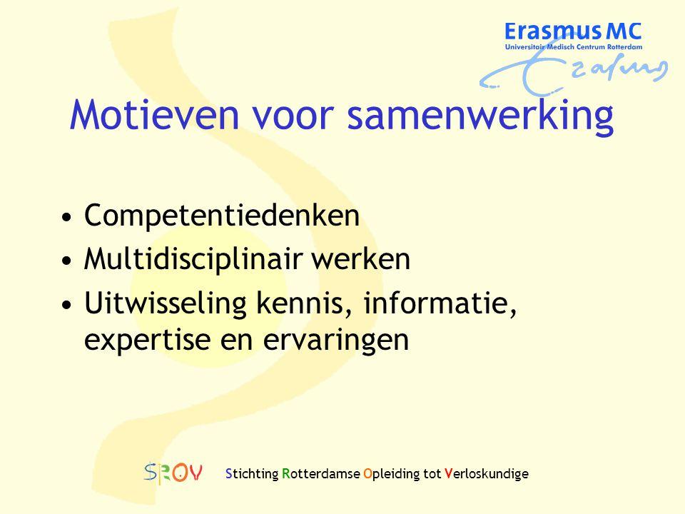 Motieven voor samenwerking Competentiedenken Multidisciplinair werken Uitwisseling kennis, informatie, expertise en ervaringen Stichting Rotterdamse O