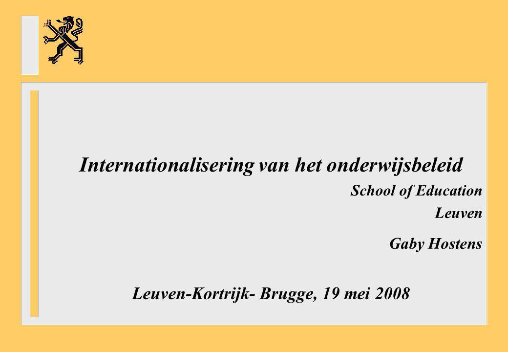 Internationalisering van het onderwijsbeleid School of Education Leuven Gaby Hostens Leuven-Kortrijk- Brugge, 19 mei 2008