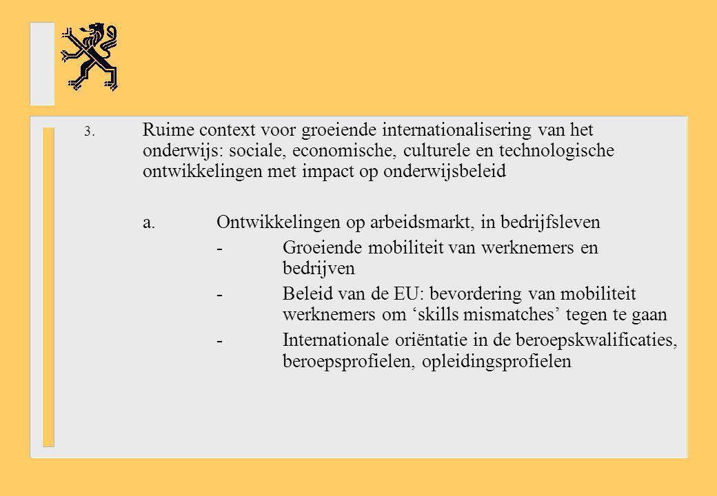 3. Ruime context voor groeiende internationalisering van het onderwijs: sociale, economische, culturele en technologische ontwikkelingen met impact op