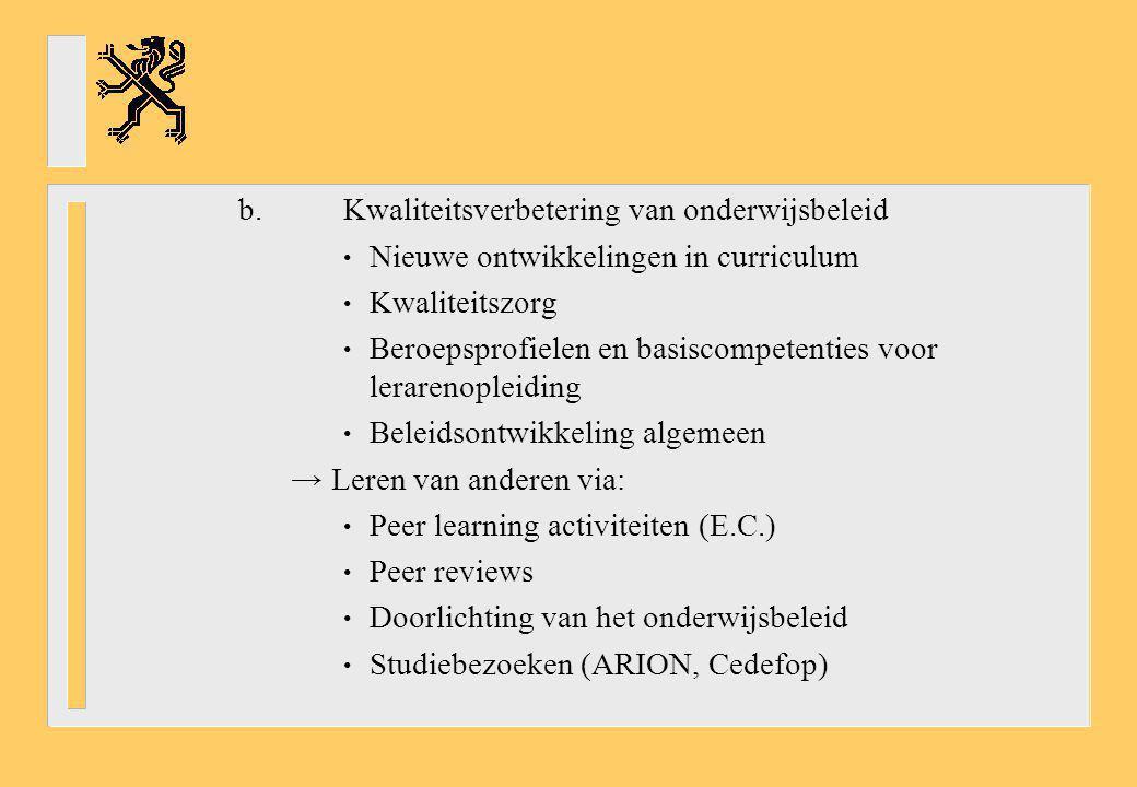 b.Kwaliteitsverbetering van onderwijsbeleid Nieuwe ontwikkelingen in curriculum Kwaliteitszorg Beroepsprofielen en basiscompetenties voor lerarenoplei