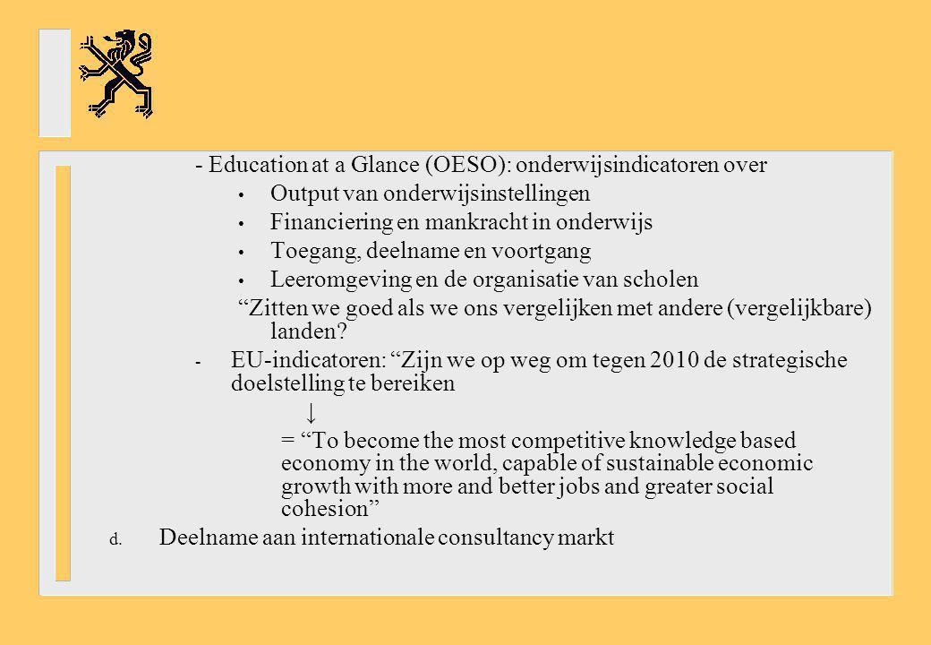 - Education at a Glance (OESO): onderwijsindicatoren over Output van onderwijsinstellingen Financiering en mankracht in onderwijs Toegang, deelname en