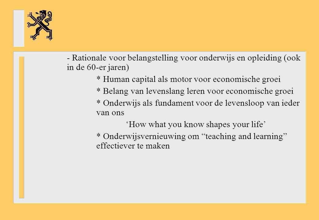 - Rationale voor belangstelling voor onderwijs en opleiding (ook in de 60-er jaren) * Human capital als motor voor economische groei * Belang van leve
