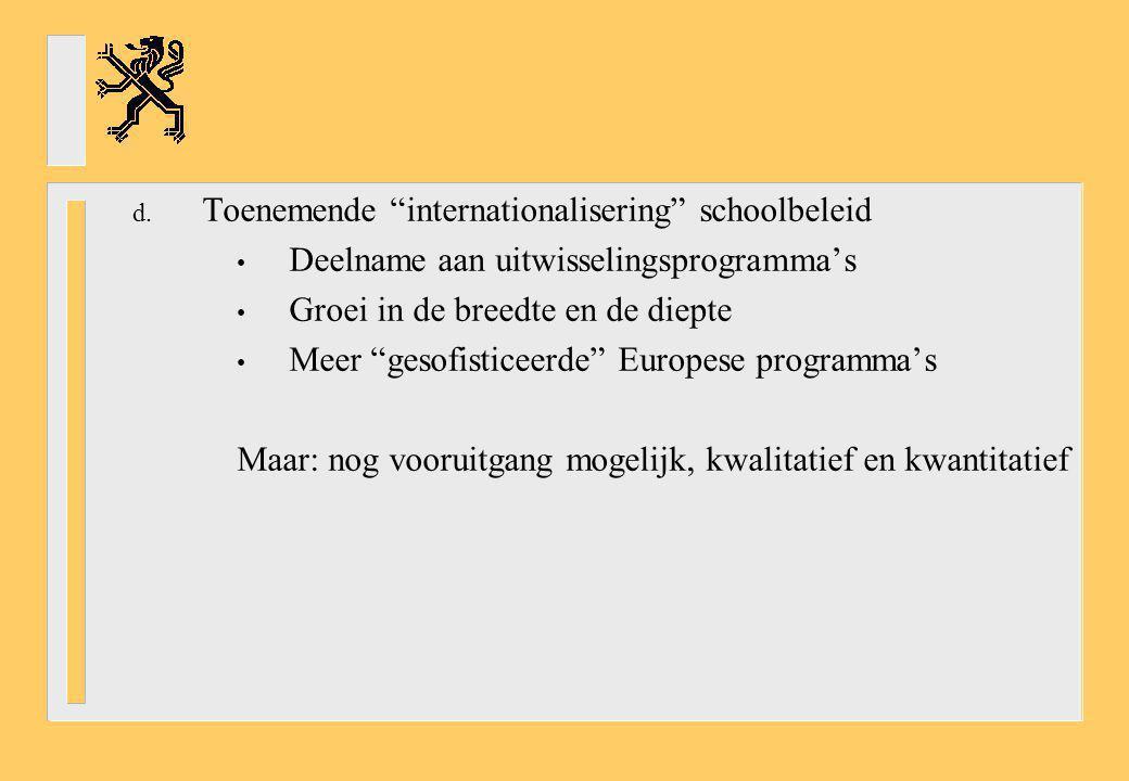 "d. Toenemende ""internationalisering"" schoolbeleid Deelname aan uitwisselingsprogramma's Groei in de breedte en de diepte Meer ""gesofisticeerde"" Europe"