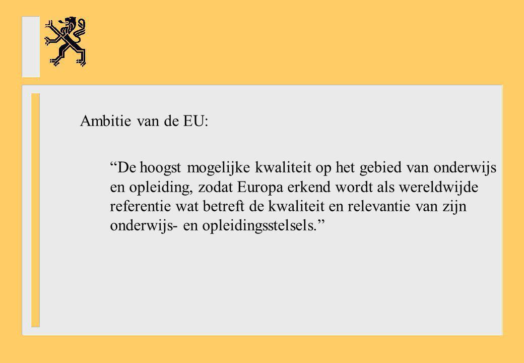 """Ambitie van de EU: """"De hoogst mogelijke kwaliteit op het gebied van onderwijs en opleiding, zodat Europa erkend wordt als wereldwijde referentie wat b"""