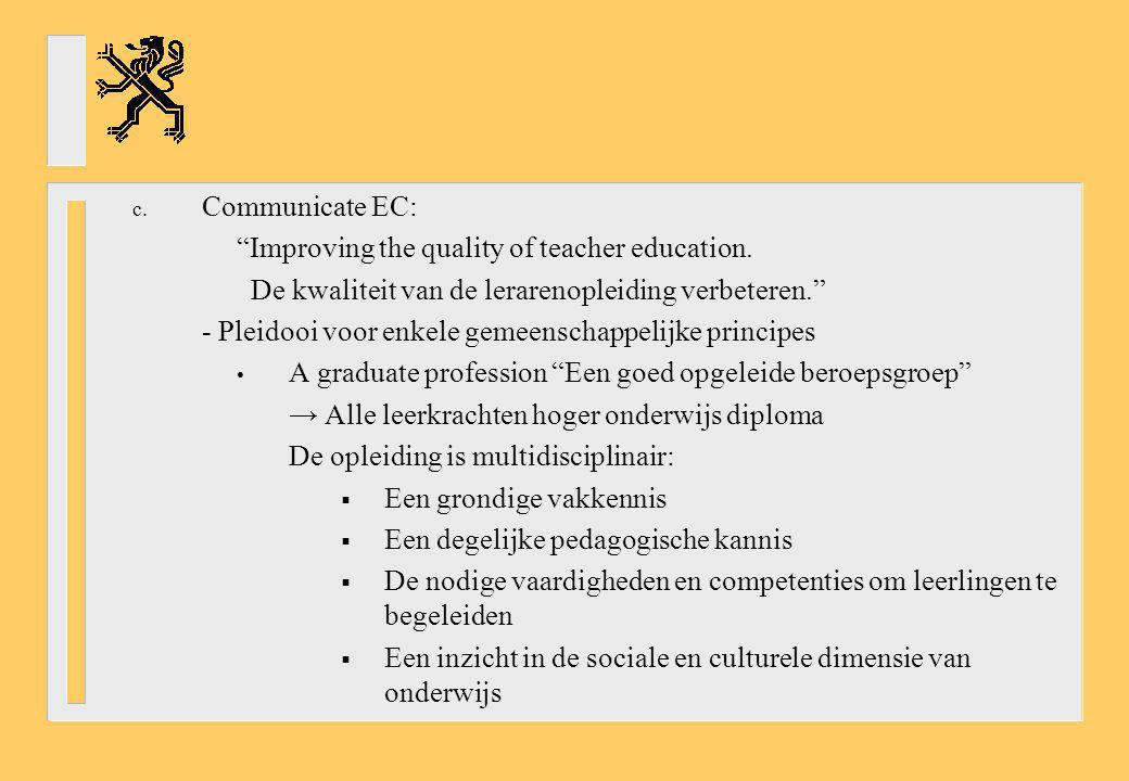 c.Communicate EC: Improving the quality of teacher education.