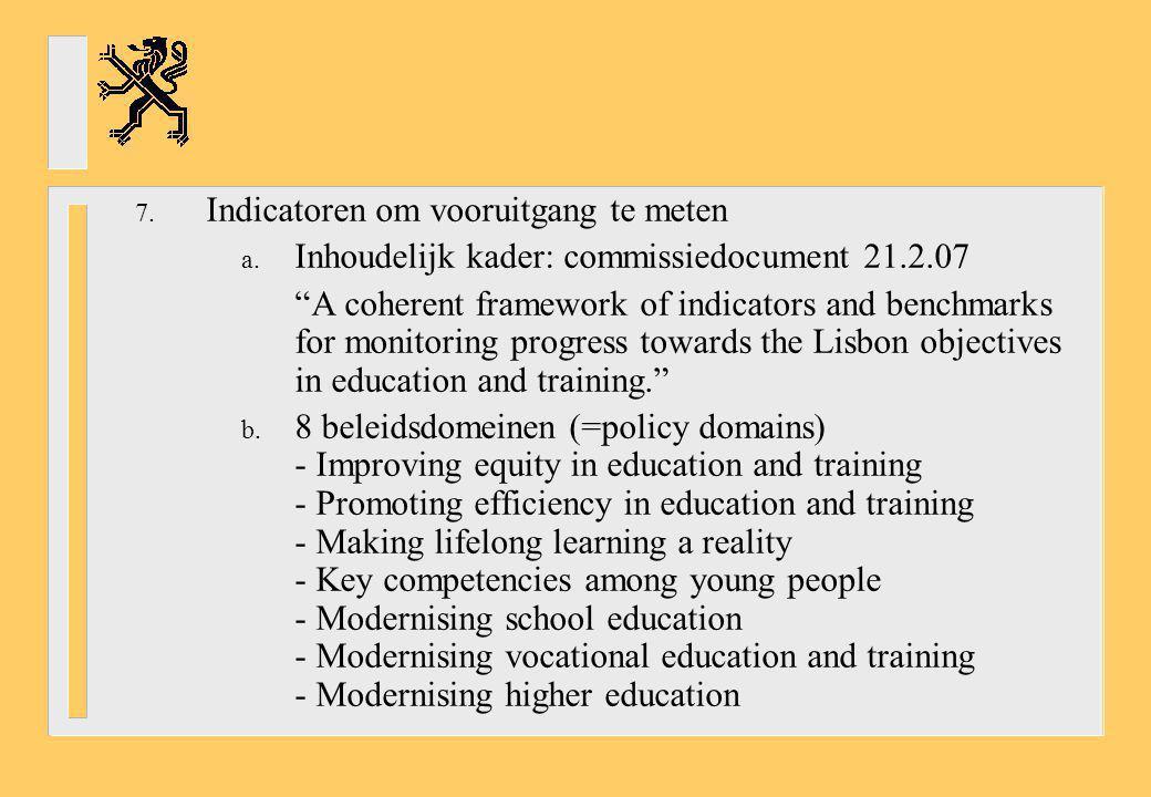 "7. Indicatoren om vooruitgang te meten a. Inhoudelijk kader: commissiedocument 21.2.07 ""A coherent framework of indicators and benchmarks for monitori"