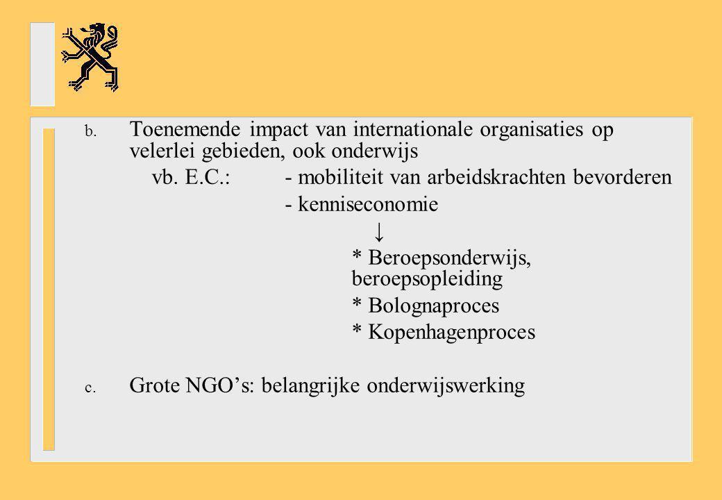 b. Toenemende impact van internationale organisaties op velerlei gebieden, ook onderwijs vb. E.C.:- mobiliteit van arbeidskrachten bevorderen - kennis