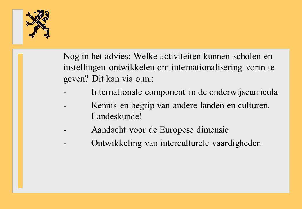 Nog in het advies: Welke activiteiten kunnen scholen en instellingen ontwikkelen om internationalisering vorm te geven? Dit kan via o.m.: -Internation