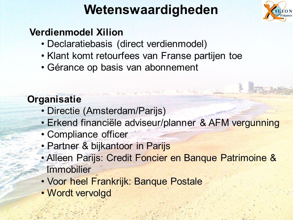 Wetenswaardigheden Declaratiebasis (direct verdienmodel) Klant komt retourfees van Franse partijen toe Gérance op basis van abonnement Verdienmodel Xi